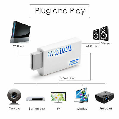 Wii Input to HDMI 3.5mm Jack Audio 1080P HD Audio Output Converter Adapter Cable