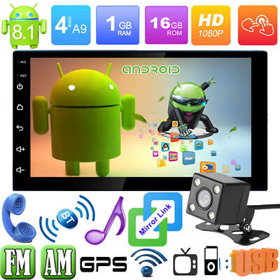 "7"" 2DIN Android8.1 Car Stereo MP5 Media Player GPS Nav AM/FM/WiFi Con Telecamera"