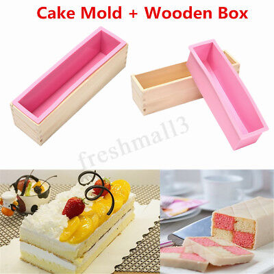 2x Wood Loaf Soap Mould with Silicone Mold Cake Making Wooden Box Biscuit DIY AU