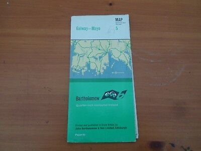 old Bartholomews map. quarter inch. sheet 5. Galway Mayo Ireland vintage 1965