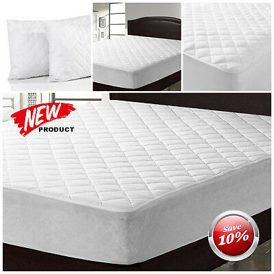 Extra Deep Quilted Mattress Protector Fitted Bed Cover Single Double King S.king
