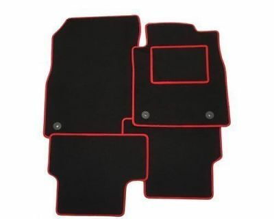 Peugeot 107 2005-2013 With 2 Clip Type TAILORED CAR MATS BLACK WITH RED TRIM