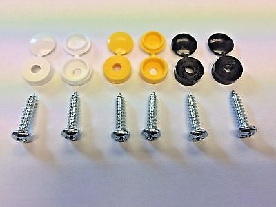 Number Plate Screw Pack Cap Fixings Yellow, White & Black 2 (X6)