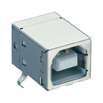 Lumberg 2411 02 USB 2.0 Chassis Socket Type B for PCB Angled White