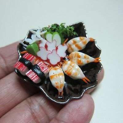Sushi Japanese Food on Plate Dollhouse Miniatures Supply Deco Barbie