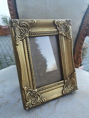 Gold Gilt Effect Antique Hand Painted Frame Vintage. 6x4 Inches