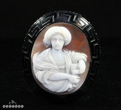 Antique Victorian Whitby Jet & Carved Shell Cameo