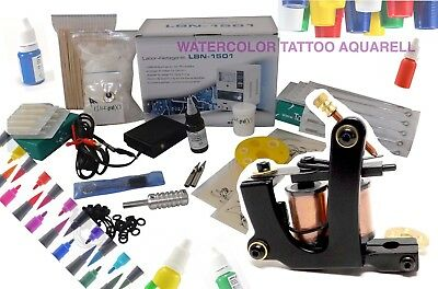 Inkgrafix Aquarell Kit de Tatouage - Machine à Tatouer Set Complet Professionnel