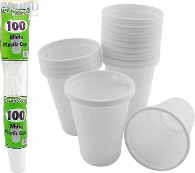3000 X White Plastic Cups 7oz Disposable Plastic Drinking Cups White Tumblers UK