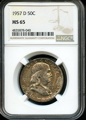 1957 D 50C Ngc Ms 65 (Mint State 65) Silver Franklin Half Dollar Coin Sh986