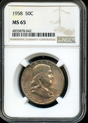 1958 50C Ngc Ms 65 (Mint State 65) Silver Franklin Half Dollar Coin Sh988