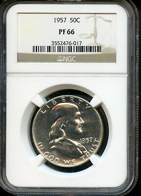 1957 50C Ngc Pf 66 (Proof 66) Silver Franklin Half Dollar Coin Sh990