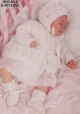 Knitting Pattern BABY Matinee Coat and Bonnet Booties copy 8 Ply