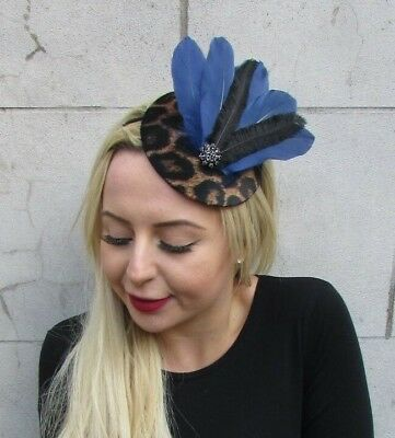Navy Blue Black Leopard Animal Print Feather Pillbox Hat Fascinator Races 6894