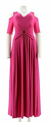 6897ada5c245bc Liz Lange Cold-Shoulder Ultimate Maxi Dress V Neck Stretch Peony PS NEW 524-