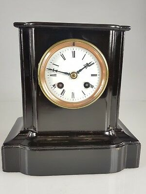 ANTIQUE 19thC FRENCH JAPY FRERES 8 DAY STRIKING EBONY MANTLE CLOCK W/O