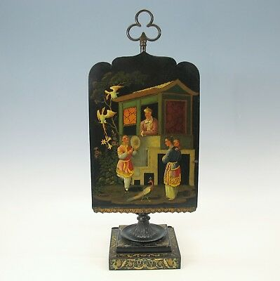 Best 1800's toleware table oil or candle lamp fire face screen