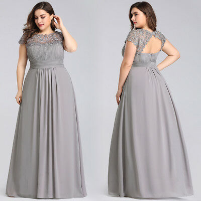 EVER-PRETTY US GREY Long Lace Evening Dress Backless Bridesmaid Dress Plus  Size