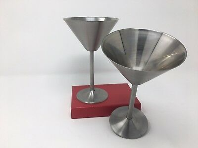 2PCS Stainless Steel Martini Glass Cocktail Wine Drinking Cup Travel Outdoor.