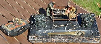 RARE Vienna Bronze ink stand on marble, Chess Blotter Letter Opener by Chotka