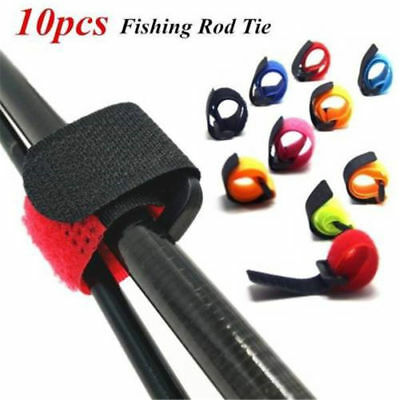 10X Reusable Nylon Fishing Rod Tie Holder Strap Fastener Tie Fishing Accessories