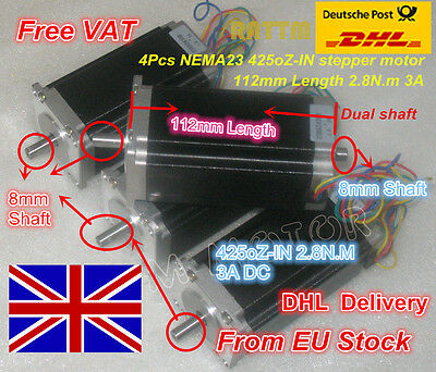 【UK】 4Pcs Dual Shaft Nema23 425oz-in 112mm 3A Stepper Motor for CNC Router