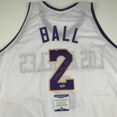 9ec35c39fcc Autographed/Signed LONZO BALL Los Angeles Lakers White Jersey Beckett BAS  COA