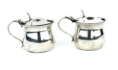 Antique Victorian Sterling Mustard Pots Matched Pair Sheffield 1900 Atkin Bros
