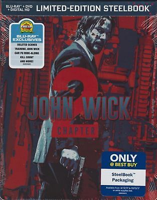 John Wick Chapter 2 Steelbook Blu-Ray Dvd Digital New Sealed Fast Ship
