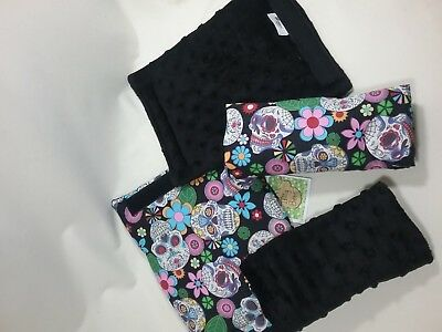 2 x padded luggage suitcase handle wrap cosy seat belt covers sugar skulls x
