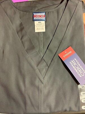 Scrub Top SIZE 4XL BLACK CHEROKEE WORKWEAR NWT Nurse Work Medical UNIFORM CNA ER