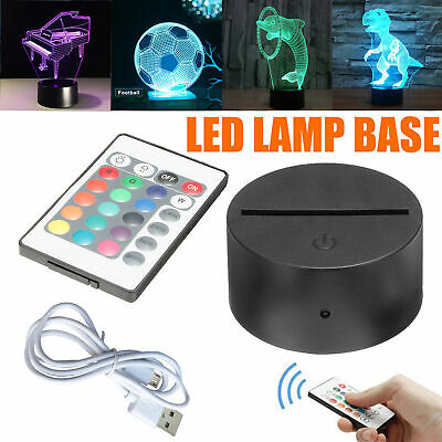 Touch 7 Color LED Lamp Base For 3D Illusion Acrylic Light Panels Remote Black