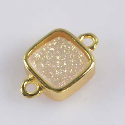 9mm Natural Agate Druzy Titanium AB Bezel Connector Gold Plated T066673