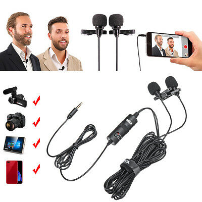 3.5mm Dual Head Tie Clip on Mic Lavalier Lapel Mini Microphone for iPhone iPad