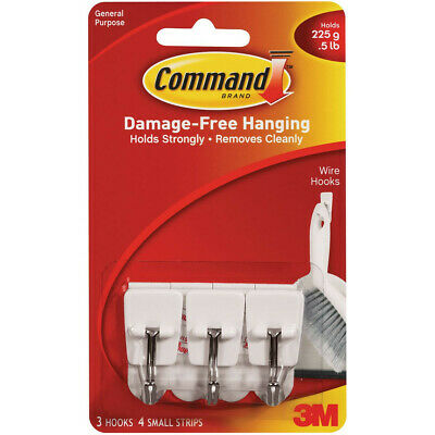 3M Command Small Self Adhesive 3 Wire Hooks With Extra Strips Holds Up to 225g