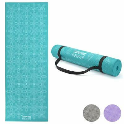 Yoga Exercise Mat Foam 6mm Non-Slip Pilates Gym Lotus Flower Pattern With Strap