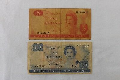 Two New Zealand Bank Notes Five Dollars And Ten Dollars