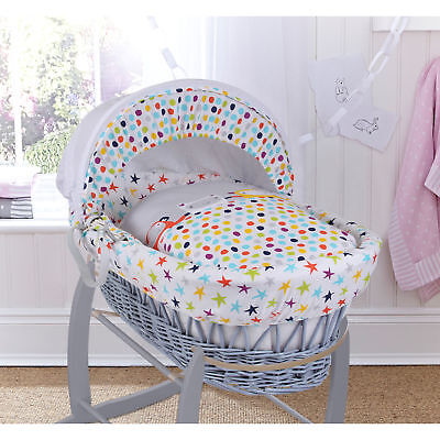 New Clair De Lune Grey Brights Padded Grey Wicker Baby Moses Basket & Mattress