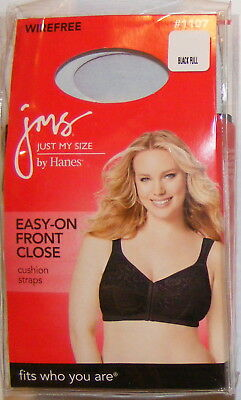 b53cd77b0a Just My Size  1107 Bra Size 54DD Front Close Wire Free Cushion Straps Black