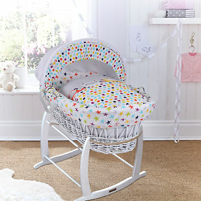 New Clair De Lune Grey / Brights White Wicker Baby Moses Basket & Rocking Stand