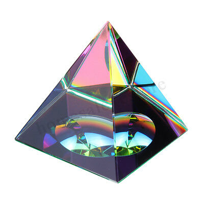 "2.3"" Crystal Iridescent Pyramid Rainbow Color Home Decor FengShui Reiki Healing"