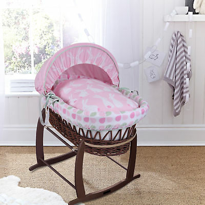 New Clair De Lune Rabbits Pink Dark Wicker Baby Moses Basket & Rocking Stand