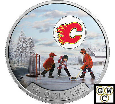 2017Calgary Flames(R)-Passion to Play Color Prf $10 Fine Silver 1/2oz(NT)(17854)