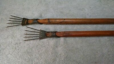Antique Frog Gigs - 5 prong/tine w/ poles (vintage cast iron fishing spear/gaff)