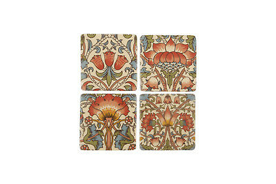Ceramic Tile Coasters Antique Vintage Style Lotus Flower Design Set of 4