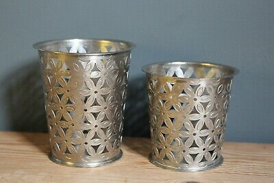 Antique Silver Coloured Metal T Light Holders in 2 Sizes FREE POSTAGE