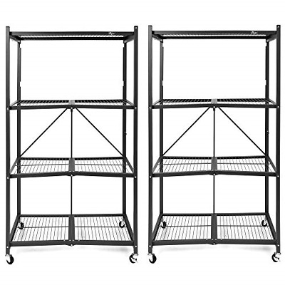 2v Origami 4-Shelf Large Heavy-Duty Storage Racks, Black, Pair