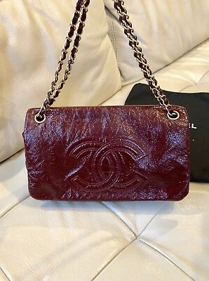f79acafeb7a5 Auth Chanel Bordeaux Burgundy Rock Chain Classic Flap Bag Patent Vinyl