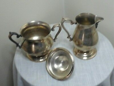 Wm Rogers sugar bowl w/lid and creamer pitcher silverplated