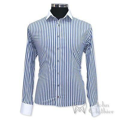 Club collar Blue Black stripes Banker Cotton shirt Penny Round collar for Gents